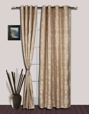 S9home by Seasons Polyester Beige Solid Eyelet Door Curtain