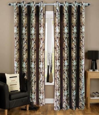 Urban Arts Polyester Brown Printed Eyelet Door Curtain