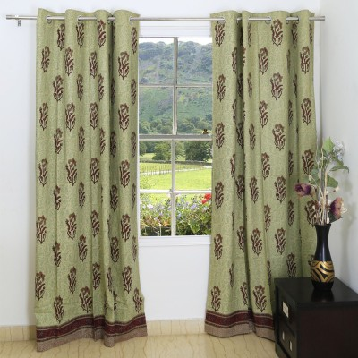 Ethnic Rajasthan Cotton Pale Brown Floral Ring Rod Window Curtain