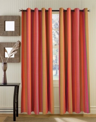 Home Boutique Cotton Pink, Orange Striped Eyelet Long Door Curtain