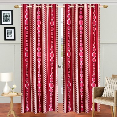 Handy Texty Polyester Red Printed Eyelet Window Curtain