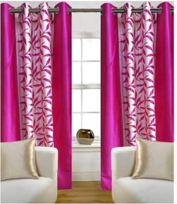 RK Home Furnishing Polycotton Pink Plain Eyelet Door Curtain