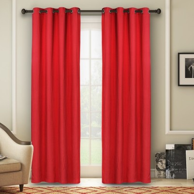 Soumya Polycotton Maroon Plain Eyelet Door Curtain
