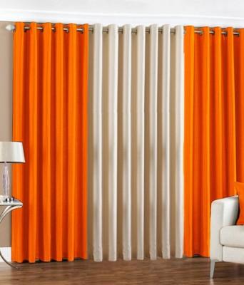 The Decor Hub Polyester Orange, Cream Plain Eyelet Door Curtain