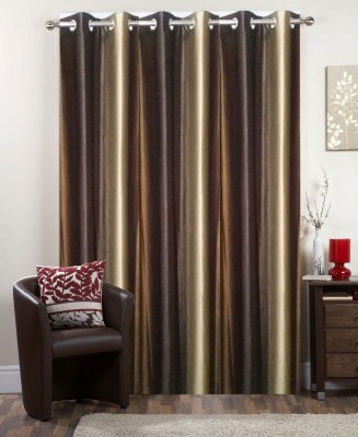 I-LivSmart Polyester Royal Coffee and Gold Shade Plain Curtain Window & Door Curtain