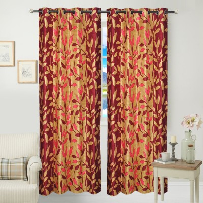 Jars Collections Polyester Maroon Floral Eyelet Long Door Curtain