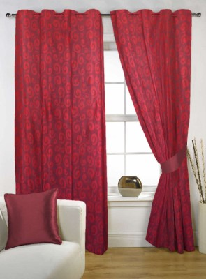 Kings Polycotton Red Printed Eyelet Window Curtain