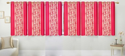 Ville Style Polyester Pink Floral Eyelet Window Curtain