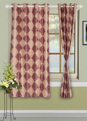 Dreams Polyester Purple Motif Eyelet Window Curtain