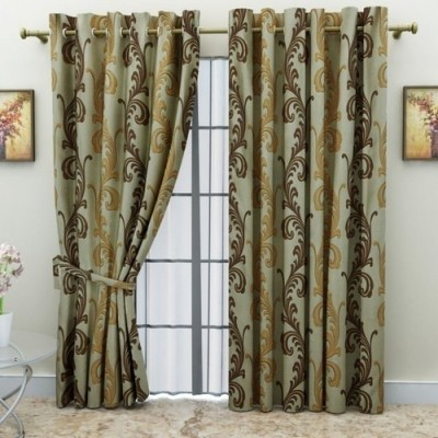 G M HomeFashion Polyester Multicolor Solid Eyelet Door Curtain