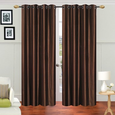 Decorista Polyester Brown Plain Rod pocket Door Curtain