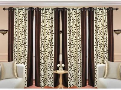 Rk Home Furnishing Polycotton Brown Plain Eyelet Door Curtain