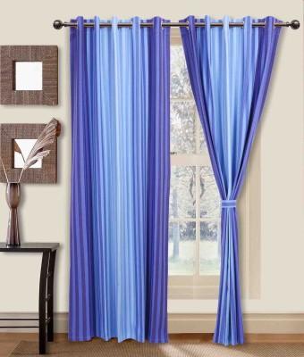 Elan Cotton Blue Striped Eyelet Long Door Curtain