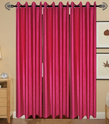 IndianOnlineMall Polyester Pink Plain Eyelet Long Door Curtain