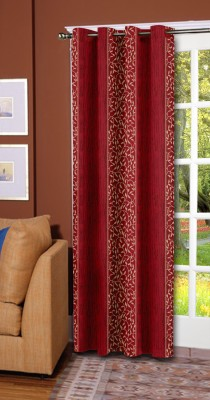 Trendy Home Polyester Maroon Striped Eyelet Door Curtain