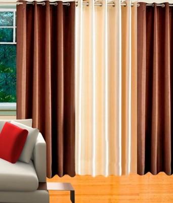 Hargunz Polycotton Brown, Beige Floral Eyelet Long Door Curtain