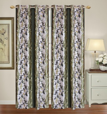 HomeTex Polyester Green Printed Window Valance