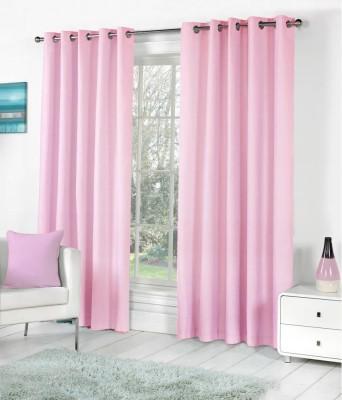 Home Fantasy Polyester Pink Plain Eyelet Window Curtain