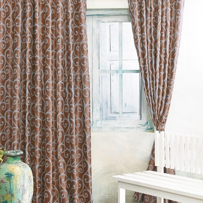 New Fabric Art Jacquard Brown Printed Eyelet Window Curtain