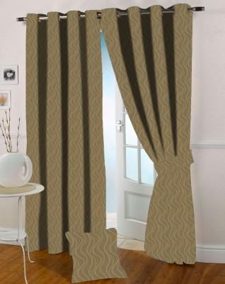 Presto Polycotton Yellow, Gold Solid Eyelet Long Door Curtain