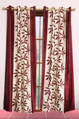 Metro Living Polyester Red Printed Eyelet Long Door Curtain