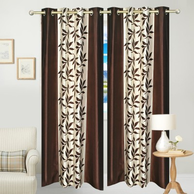 Click Shoppe Polyester Brown Floral Ring Rod Long Door Curtain
