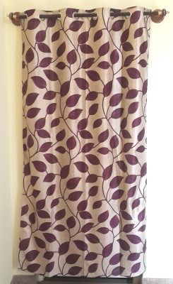 Trendy Home Polyester Purple Floral Eyelet Door Curtain