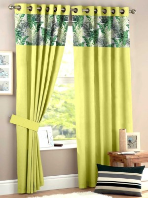 HOMEC Polyester Lime Floral Eyelet Window & Door Curtain