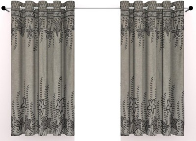 Vinis Cotton Grey Printed Ring Rod Window Curtain