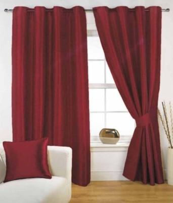 sajaawat Polyester Red Plain Eyelet Door Curtain