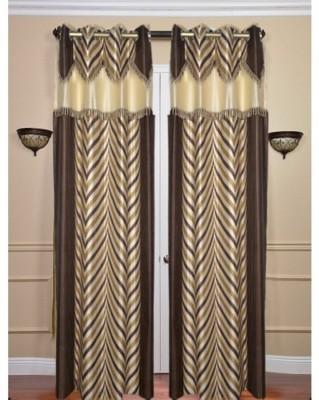 Brabuon Polyester Brown Printed Eyelet Door Curtain
