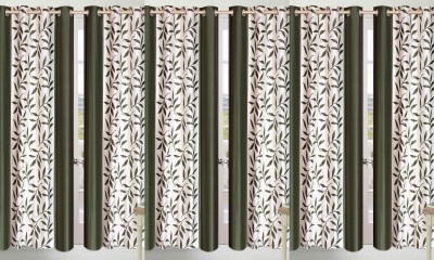 Shopgalore Polyester Green Floral Eyelet Door Curtain