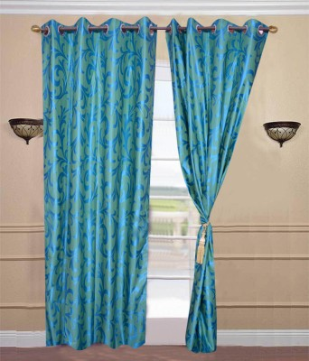 JTInternational Polyester Blue Abstract Eyelet Door Curtain
