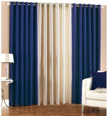 Home And Craft Polyester Blue Floral Eyelet Door Curtain