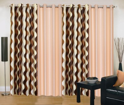 New Trends Polyester Brown, Beige Printed Eyelet Window Curtain