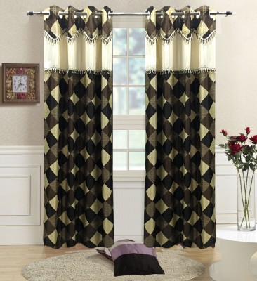 Homefab India Polyester Brown Solid Eyelet Long Door Curtain