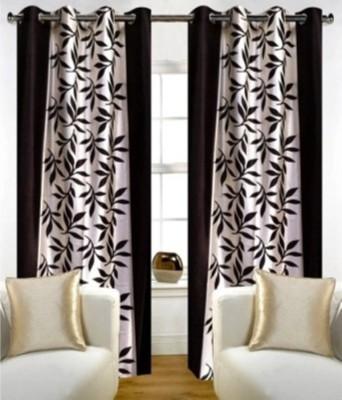 FriendClub Polyester Brown Printed Eyelet Long Door Curtain