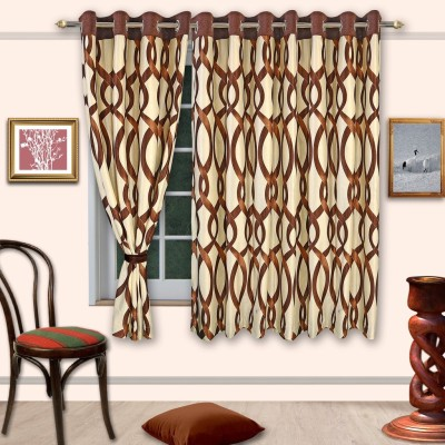 Cortina Polyester Brown Floral Eyelet Window Curtain
