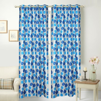 Jars Collections Polyester Blue Floral Eyelet Long Door Curtain