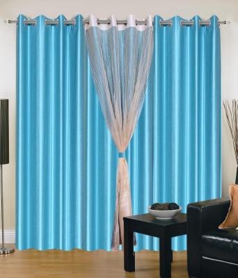 Shiv Shankar Handloom Polyester Multicolor Plain Eyelet Long Door Curtain