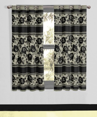 Vivace Homes Polyester, Jacquard Black Floral Eyelet Window Curtain
