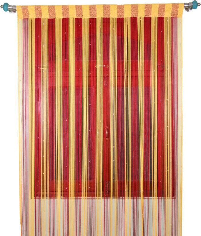 Export Hub Polyester Red, Cream Self Design Rod pocket Door Curtain(214 cm in Height, Single Curtain)