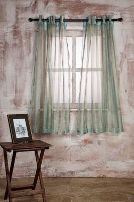 Marigold Polyester SEA GREENBEIGE Striped Curtain Window Curtain