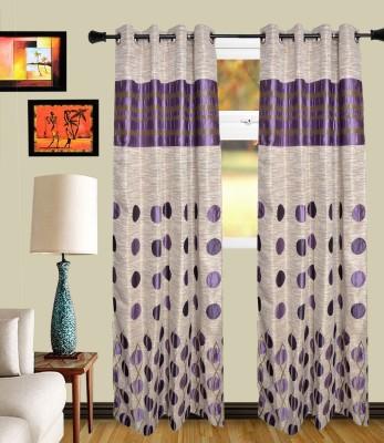 MF Polycotton Purple Polka Eyelet Door Curtain