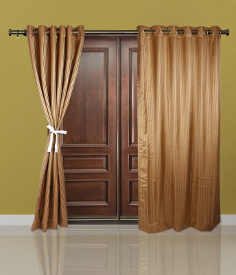Just Linen Polyester Dark Khaki Striped Eyelet Door Curtain