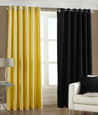 The Decor Hub Polyester Yellow, Black Plain Eyelet Long Door Curtain
