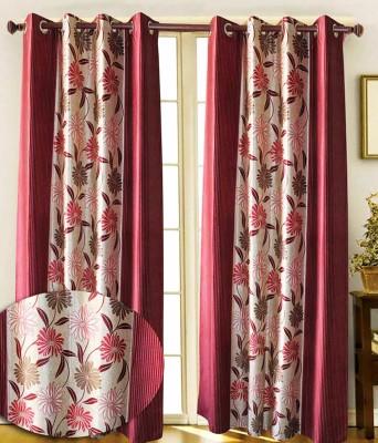 TG Shoppers Polyester Maroon Polka, Printed Curtain Door Curtain