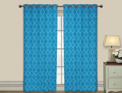 Elan Cotton Blue Motif Eyelet Door Curtain