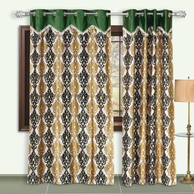 Dreaming Cotton Polyester Green Damask Eyelet Door Curtain