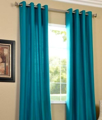 Hargunz Polyester Light Blue Abstract Eyelet Window Curtain